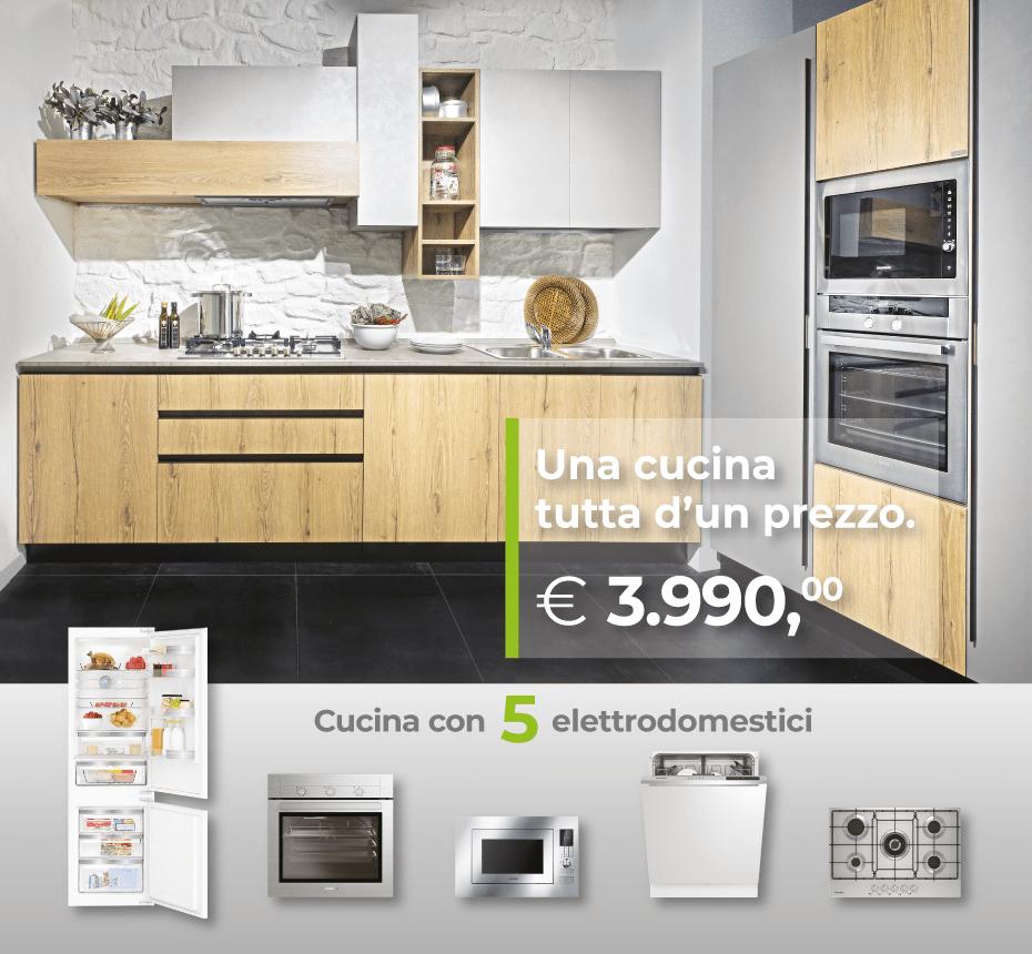 Una Cucina tutta d'un prezzo! Promozione Cucina composizione fissa Arredo 3 con 5 elettrodomestici - Arredamenti CasaStore Salerno