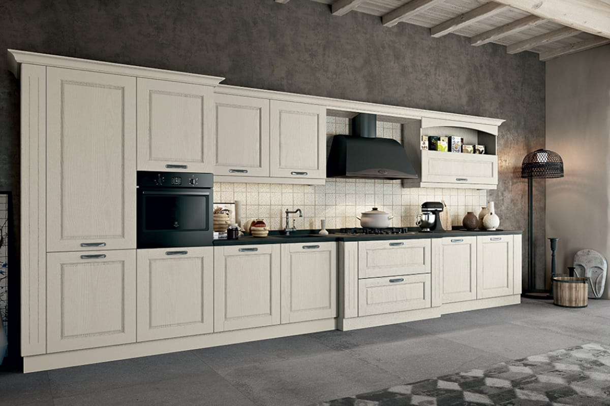Cucina lineare in stile contemporaneo con top in marmo. Cucine Classiche, Shabby Chic e Country a Salerno by CasaStore.