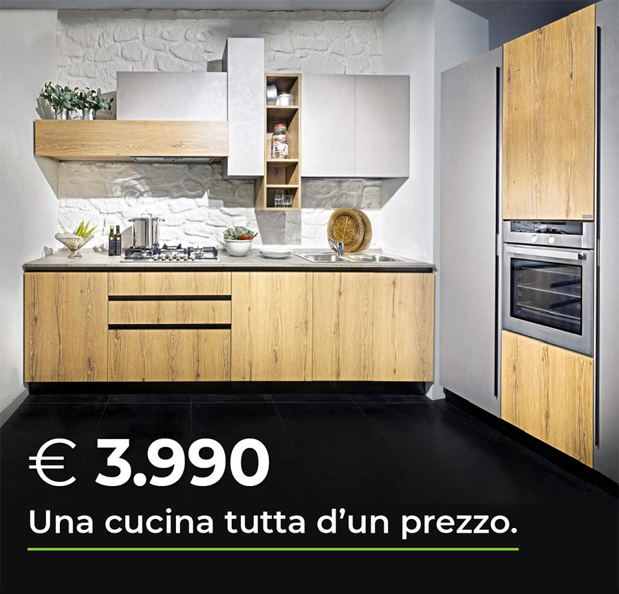 Una Cucina tutta d'un prezzo! Promozione Cucina composizione fissa Arredo3 con 4 elettrodomestici + un omaggio Smeg - Arredamenti CasaStore Salerno