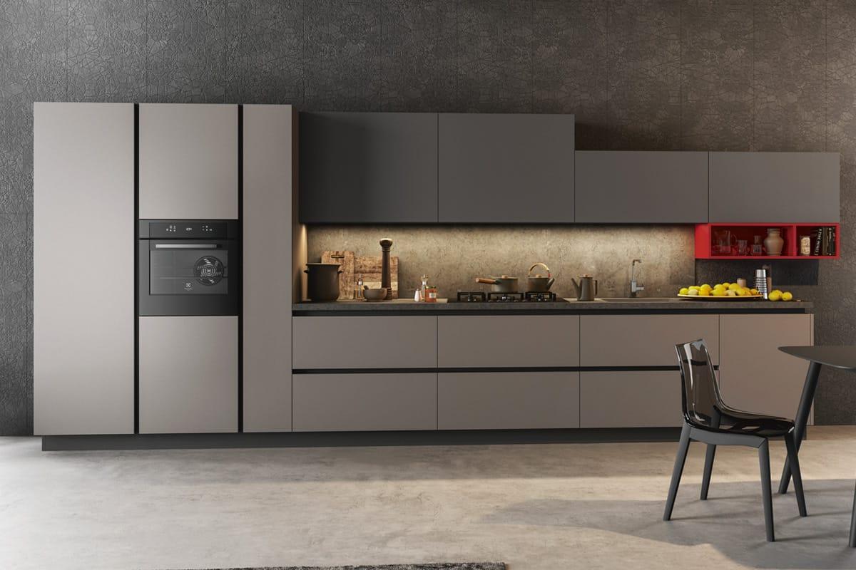 Cucina TIME 02 composizione lineare con elementi a giorno contrasto. Cucine Arredo 3 Salerno - Arredamenti CasaStore.