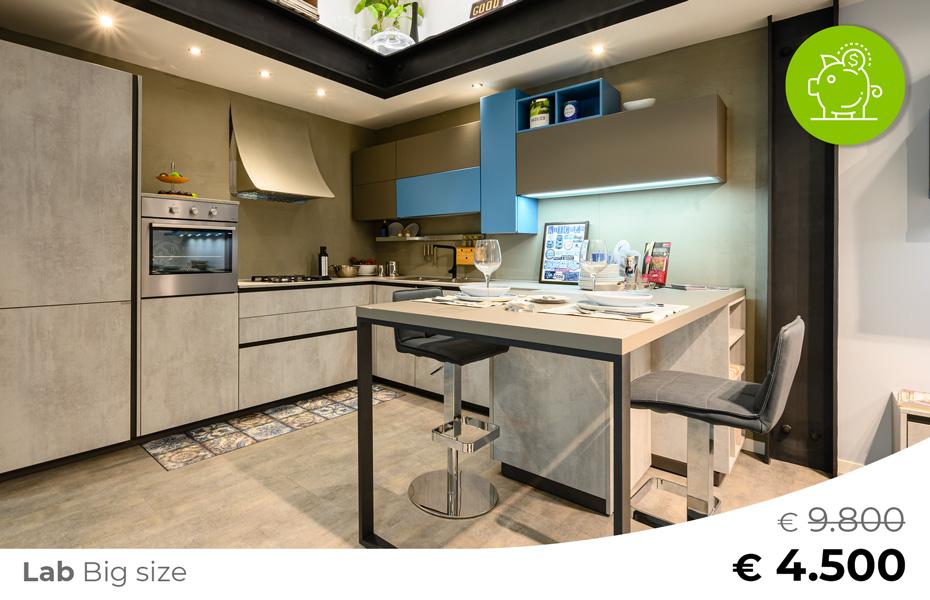 Cucina LAB BIG SIZE offerta Sconto rinnovo esposizione-Arredamenti CasaStore Salerno.