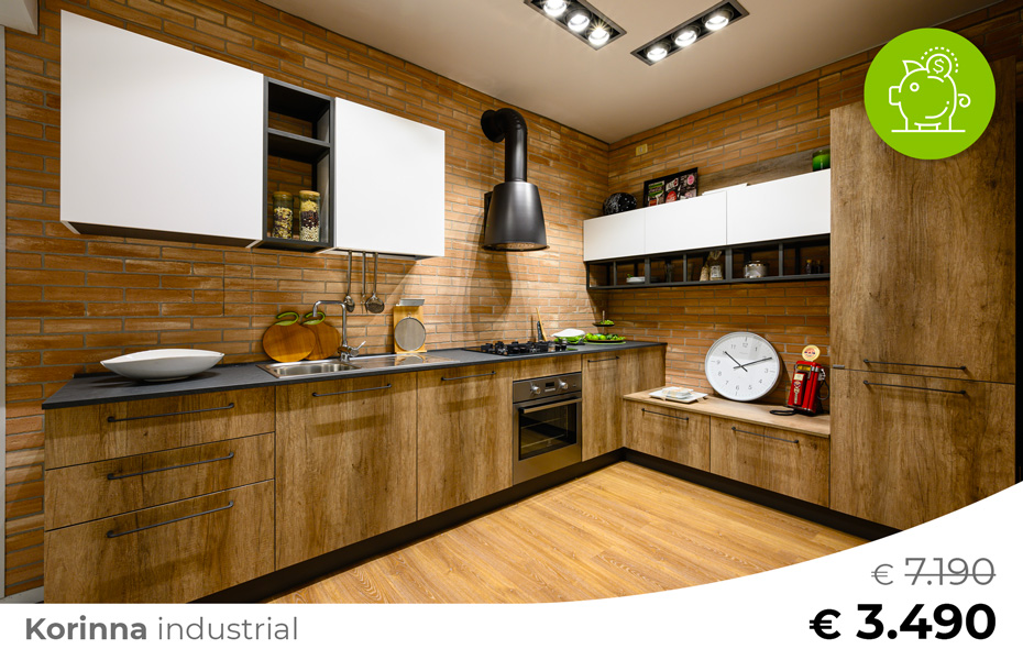 Cucina-stile-industrial-KORINNA-Sconto-50%-per-rinnovo-esposizione-CasaStore-Arredamenti-Salerno
